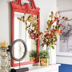 Come tour this gorgeous home. Not much orange hues but very lovely decor for fall.
