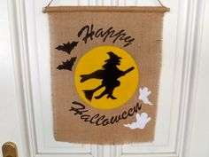 Happy Halloween Door Banner Witch in the Moon / Burlap and Felt Handmade by FeistyFarmersWife on Etsy, $21.18 CAD