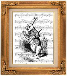 "The White Rabbit ""I'm Late"", Alice in Wonderland Decoration, Sheet Music Art, Book Art, Dorm Room, Wall Decor, Fantasy Wall Art, Nursery"