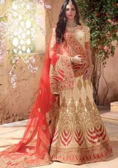 Designer Cream Colour Banarasi Raw Silk Wedding Wear Bridal Lehenga Choli Buy Sarees