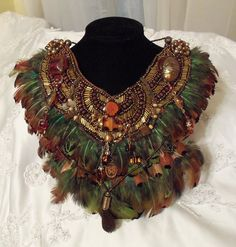 Beaded Feather Bib Large Necklace Statement por HopscotchCouture