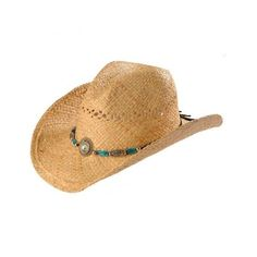 Blazin Roxx Faux Turquoise Stone Bling Raffia Straw Cowgirl Hat ( 3) ❤  liked on 4a8428b09814