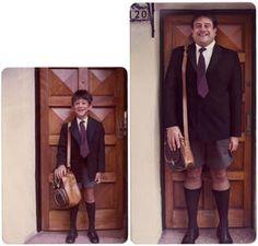 Adults replicating childhood photographs