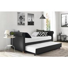 DHP Sophia Grey Linen Upholstered Daybed and Trundle | Overstock.com Shopping - The Best Deals on Beds