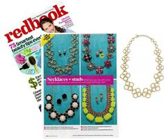 Redbook Magazine recently featured the Stella & Dot Crosby Link Necklace to highlight the trend of pairing a great pair of studs with your statement necklace.  By the way... check out who's on the cover! Christy Turlington Burns -- and she's going to be the special guest keynote speaker at Hoopla, Stella & Dot's annual conference, in July! www.stelladot.com/chantallemillman