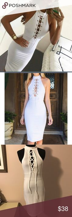 NWT white lace up body con midi dress So sexy! Fit is true to size. Material is stretchy but form fitting. ❗️Price firm unless bundled❗️ships same or next day ✈️ boutique Dresses Midi