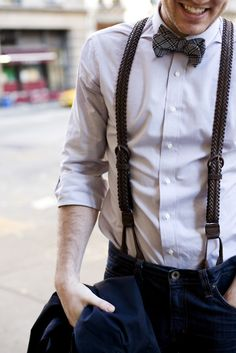 bow tie fashion for men | style: Pairing braided leather suspenders with patterned wool bow tie ...