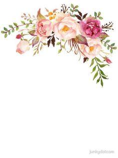 "Sticker ""Romantic Watercolor Flower Bouquet"" by junkydotc .- Aufkleber ""Romantic Watercolor Flower Bouquet"" von junkydotcom – … Sticker ""Romantic Watercolor Flower Bouquet"" by junkydotcom – … – Wedding – - Art Floral, Deco Floral, Floral Design, Flower Frame, Flower Art, Flower Bouquet Drawing, Flower Images, Flower Ideas, Illustration Blume"
