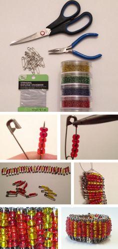 Easy diy safety pin bracelet-- great weekend craft
