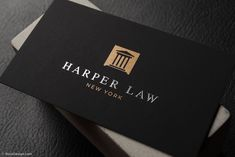 Professional Foil Stamped Lawyer Business Card Template - Harper Law