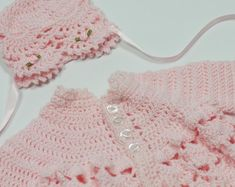 Baby girl sweater, pink baby sweater and hat by TheNanimalShop on Etsy Sweater Hat, Pink Sweater, Lace Toddler Dress, Crochet Shawl Free, Crochet Baby, Baby Girl Sweaters, Baby Girl Winter, Baby Christening, Crochet Bikini