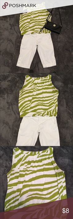 Loft brand green and white zebra tank top size PL Cute green and white zebra striped tank top from the loft, size petite large, good condition and gently used. LOFT Tops Tank Tops