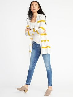 Old Navy - Open-Front Long-Line Sweater for Women (Lemon Stripe) Spring Fashion, Kids Fashion, Fashion Outfits, Fashion Design, Fashion Tips, Jackets For Women, Sweaters For Women, Clothes For Women, Summer Outfits