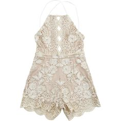 Scalloped Open Back Halter Beach Romper Champagne (28 AUD) ❤ liked on Polyvore featuring swimwear, cover-ups, scalloped swimwear, halter swimwear, beach wear, swim cover up and beach cover ups