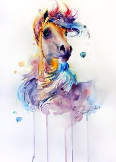 Ideas Tattoo Watercolor Horse For 2019 Watercolor Horse, Watercolor Animals, Watercolor Print, Watercolor Tattoo, Watercolor Paintings, Horse Drawings, Animal Drawings, Art Drawings, Horse Artwork