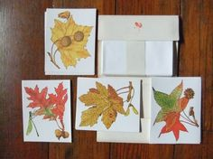 Vintage Autumn Leaflets Note Cards Full Set by Isisgoodsny on Etsy