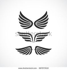 Angel wings vector icon set on white background
