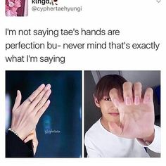 They're so perfect, like how? Why aren't every human being on the planets' hands like this? TaeHyung V BTS Bts E Got7, Jungkook Jimin, Kim Taehyung, Bts Bangtan Boy, Namjoon, Jungkook Funny, Memes Bts Español, Vkook Memes, Bts Memes Hilarious