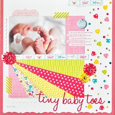 Tiny Baby Toes - Scrapbook.com - Create a ray pattern with Queen and Co washi tape as a design element on a layout.