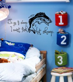 fishing decor for boys room | Cute little boy room vinyl decal. To go to sleep I count fish not ...