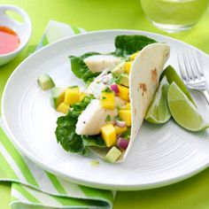 Halibut Soft Tacos - My favorite fish taco recipe.  The mango jalapeno salsa is easy, fresh and delicious!  I have never used halibut.  I have only used tilapia b/c that's what I usually have in my freezer.  These are so yummy!