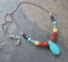 7 Chakra Necklace - Chakra Gemstones - Metaphysical/Spiritual/Chakra Jewelry by PumpkinHollowCreatns on Etsy Diamond Pendant Necklace, Gemstone Necklace, Pendant Jewelry, Beaded Jewelry, Beaded Necklaces, Silver Jewelry, Green Necklace, Diy Necklace, Chakra Necklace