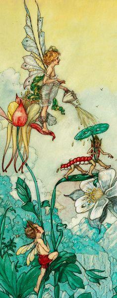 HAROLD GAZE (American, 1884-1963) Fairies at Play, Detail.  Vintage Fairy Art Print Illustration