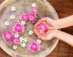Floral water foot bath idea