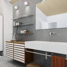 High-gloss bathroom with cubic elements