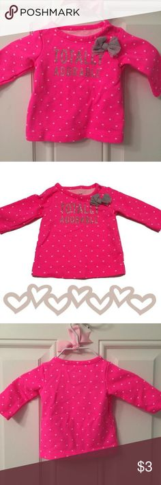 """❗️CLEARANCE ❗️Last Chance Before I Donate! Totally Adorable Light Sweatshirt This Carter's Sweatshirt is bright pink with white polka dots, glittery silver letters, and silver how.  """"Totally adorable"""" perf curly describes how your newborn will look in this sweet and tiny sweatshirt.  This is not a thick fleecy sweatshirt.  In excellent condition.  From a smoke-free home. Carters Dresses"""