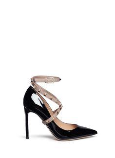 VALENTINO 'Studwrap' patent leather pumps. #valentino #shoes #