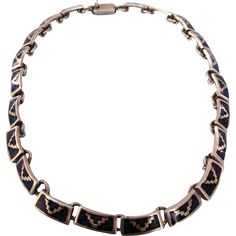 """Stunning Vintage Taxco Sterling Silver and Inlaid 16"""" Choker Necklace, 68.8 Grams!"""