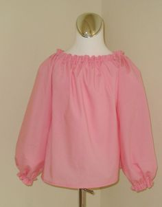 Custom Boutique Pink Long Sleeve Peasant Top 12m To by FRANCISBEL