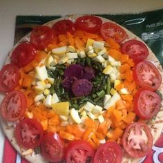 Rainbow Pizza...with pesto and goat cheese.