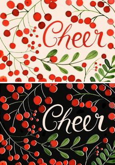 Margaret Berg Art: Berries+Cheer:+Cream+&+Black+