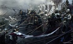 polish hussars - Battle of Kircholm - The battle was decided in 20 minutes by the devastating charge of Polish-Lithuanian cavalry, the Winged Hussars, against the Swedish army. Fantasy Battle, Medieval Fantasy, Dark Fantasy, Fantasy Art, Age Of Empires, Templer, Knight Armor, Illustration, Concept Art