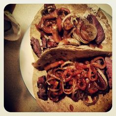 Steak Fajitas! Select steak:Sirloin, flatiron, charcoal, tri-tip. Season and grill to your preference. -Cut up 1/2 red bell pepper and 1/2 an onion. Season and marinate with Coconut oil. -Finish Tumaros Low Carb tortillas with Laughing cow skinny cheese and Hot Sauce. Enjoy!