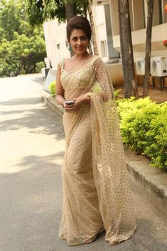 Madhushalini in Embroidery Net Saree Lace Saree, Net Saree, Fancy Sarees, Party Wear Sarees, Indian Dresses, Indian Outfits, Indian Clothes, Anarkali, Lehenga