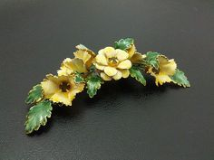 Signed Sandor Vintage Brooch Pin Flower Cluster Enamel Rhinestone Gold Tone K18 | eBay
