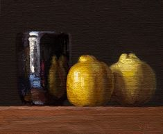 -Two Quinces and Handmade Cup with Snow Reflections- oil painting by Abbey Ryan Low Key Lighting, Dutch Golden Age, Chiaroscuro, Still Life Photography, Fine Art Gallery, Art World, Original Paintings, Ceramics, Artist