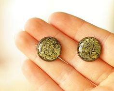 Real Lichen Stud Earring   woodland green handmade by UralNature, $18.00