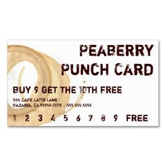 Coffee Stain Drink Punchcard Double Sided Standard Business Cards Pack Of 100