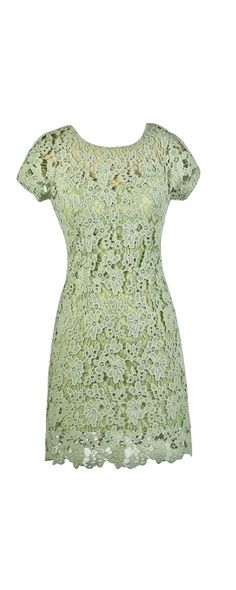 Forest Foliage Crochet Lace Dress in Lime Sage  www.lilyboutique.com
