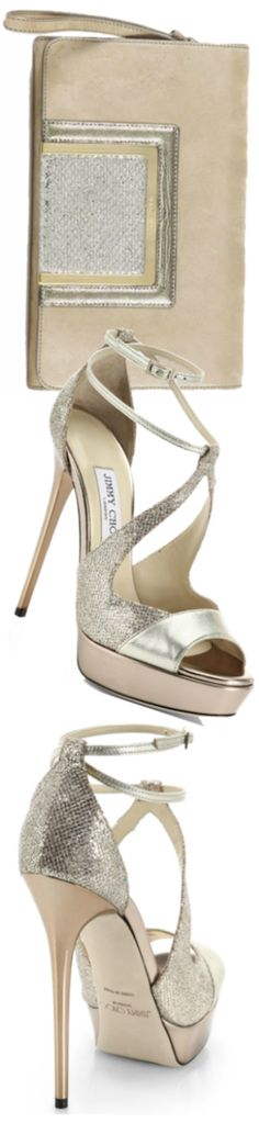 Jimmy Choo Ava Glitter Suede, Embossed Leather & Lamé Mini Shoulder Bag and Valdia Glitter & Metallic Leather Strappy Sandals