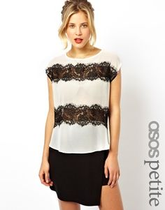 Image 1 of ASOS PETITE Exclusive Lace Panelled Tee