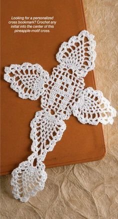 W916 Crochet PATTERN ONLY Filet / Pineapple Initial Cross Bookmark