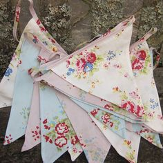 Shabby Chic Floral Bunting ♡ pineapple surprisingly this looks nice without applique or foiling Bunting Garland, Fabric Bunting, Fabric Ribbon, Bunting Ideas, Garlands, Shabby Chic Bunting, Shaby Chic, Fairy Birthday Party, Vintage Pink
