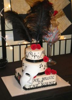Sweet 16 Phantom of the Opera themed - This is my favorite Cake of all time that I have done! I think it speaks for itself.