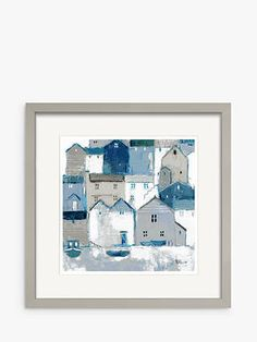 Buy Sabrina Roscino - Indigo Cottages Framed Print & Mount, 32 x Blue/Multi from our Pictures range at John Lewis & Partners. Taupe Paint, Picture Arrangements, Blue Bedroom, Coastal Cottage, Textile Design, Painting On Wood, Photo Galleries, Oriental, Cottages