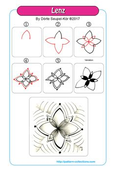 Lenz by Dörte Seupel-Kör Zen Doodle Patterns, Doodle Borders, Mandala Pattern, Zentangle Patterns, Mandala Design, Mandala Doodle, Tangle Doodle, Tangle Art, Zentangle Drawings